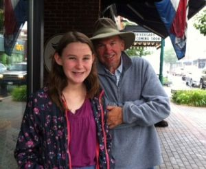 Cousin Lizzo and me, outside Atlantic Bakery, Main Street, Rockland, Maine.